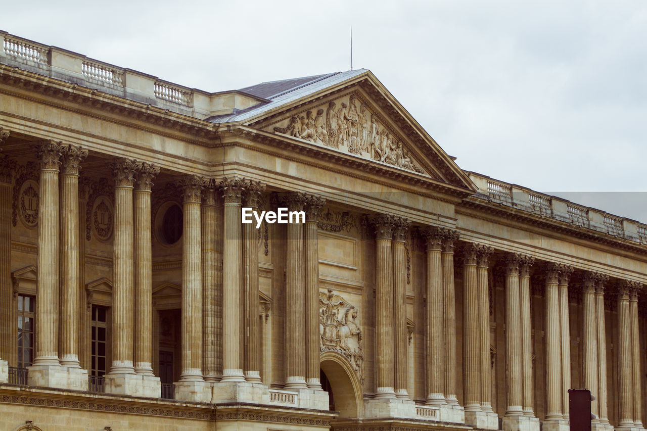built structure, architecture, building exterior, sky, architectural column, the past, history, low angle view, travel destinations, nature, day, pediment, cloud - sky, travel, art and craft, tourism, no people, outdoors, facade, sculpture, colonnade, government, ornate, neo-classical, ancient civilization