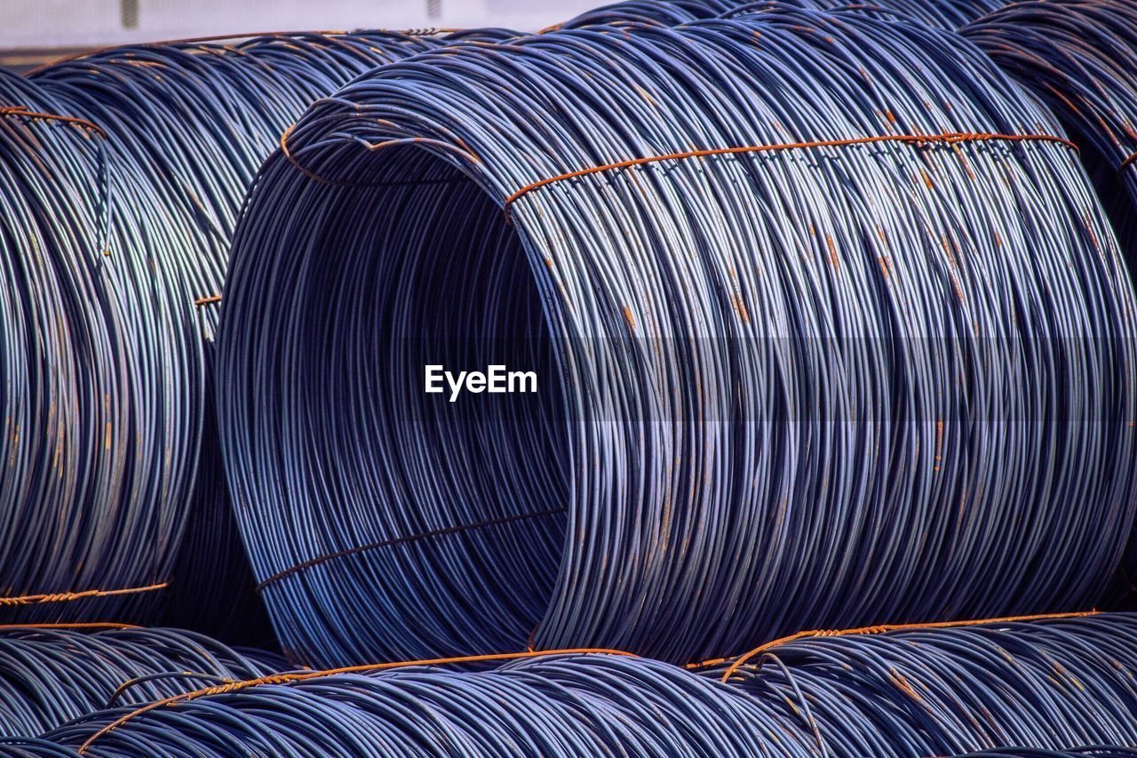Close-Up Of Steel Cables At Factory