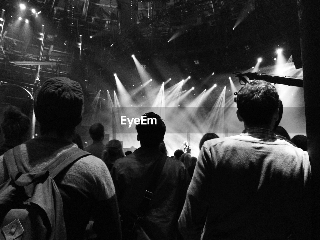 Rear view of people against light beams at music festival