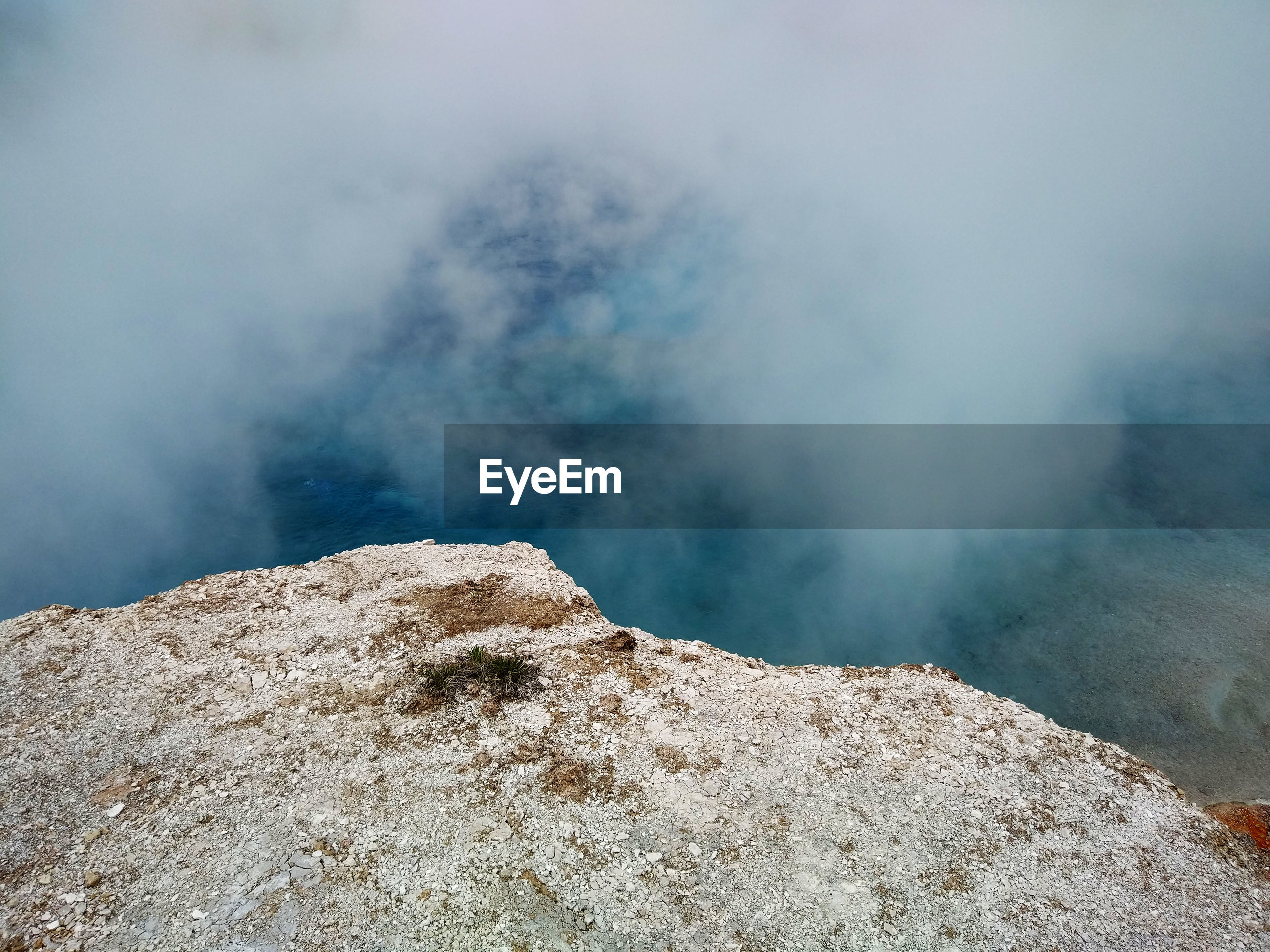 Smoke emitting from volcanic crater