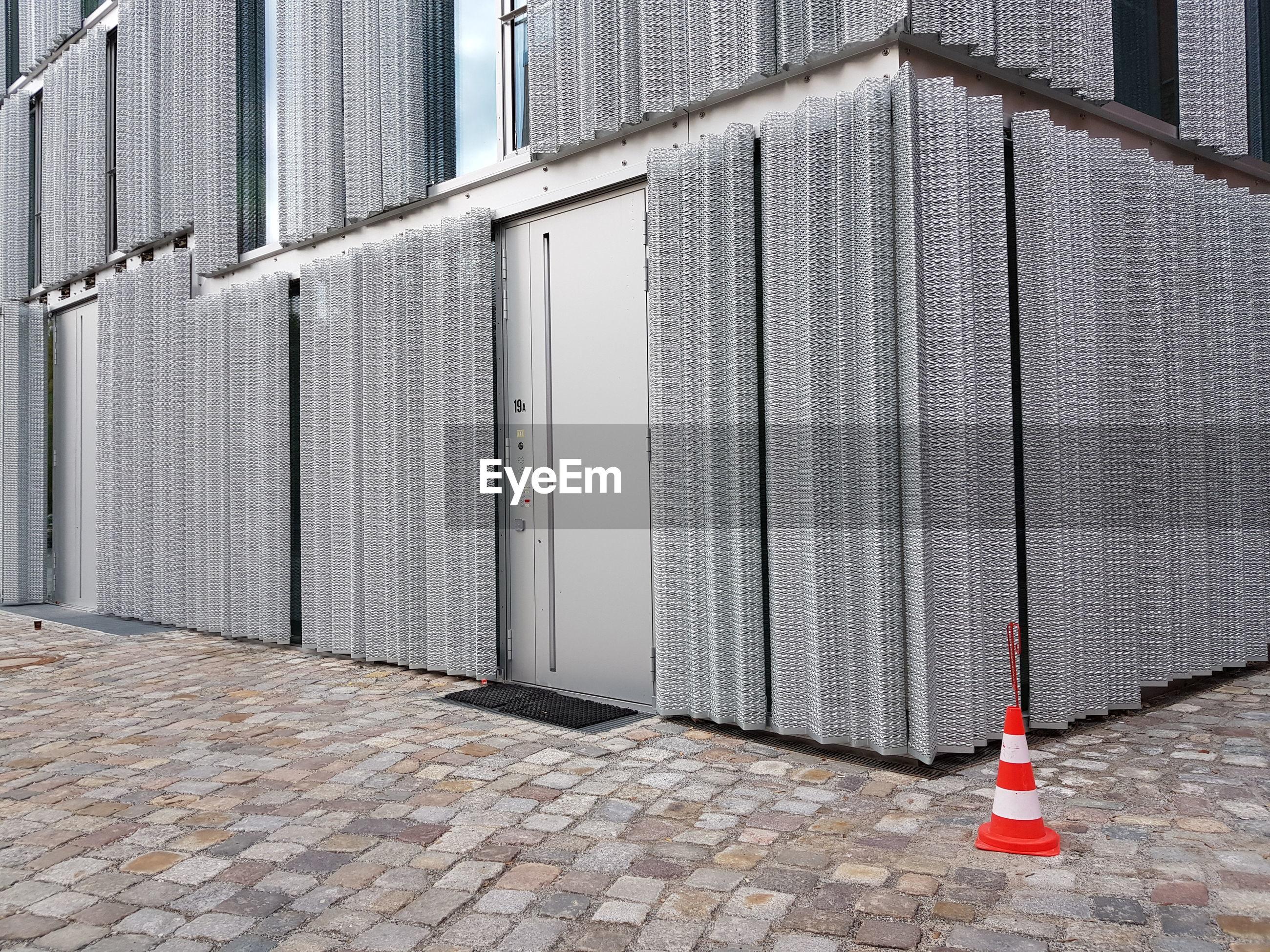 Metal facade of building
