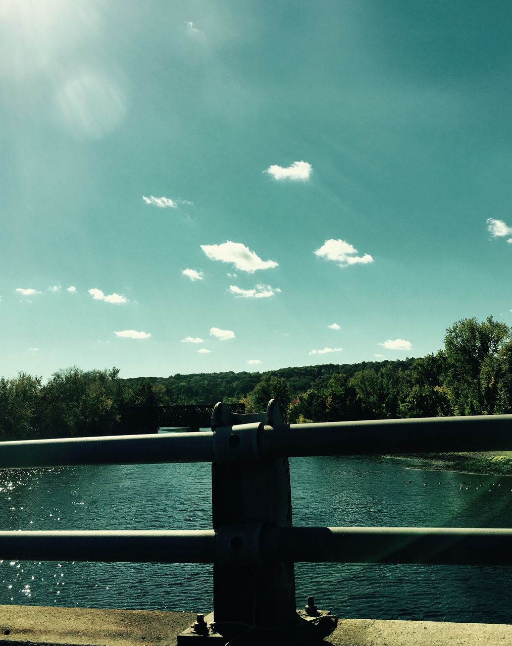 sky, water, railing, river, tree, no people, day, outdoors, nature, close-up