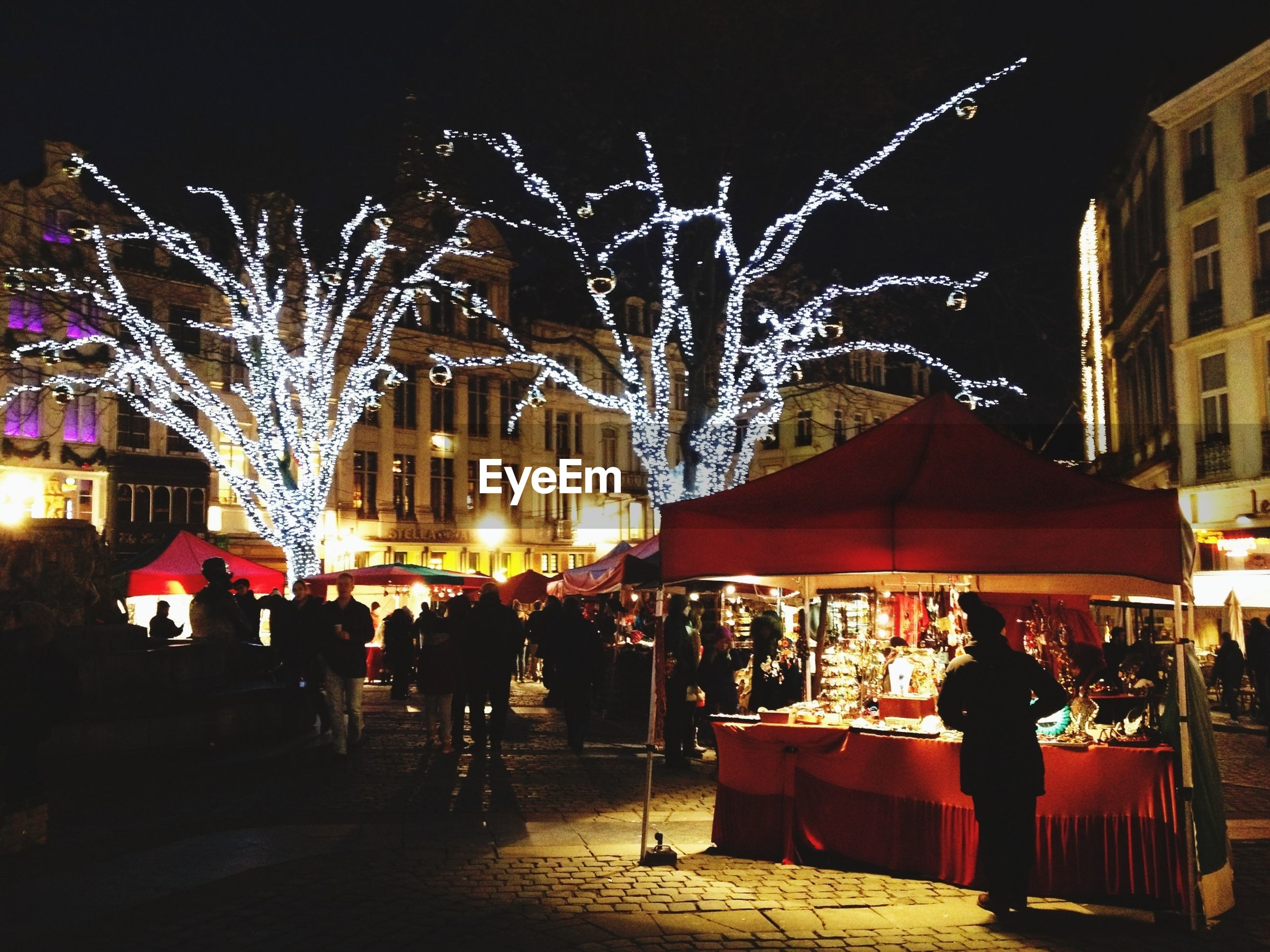People at decorated street market during christmas