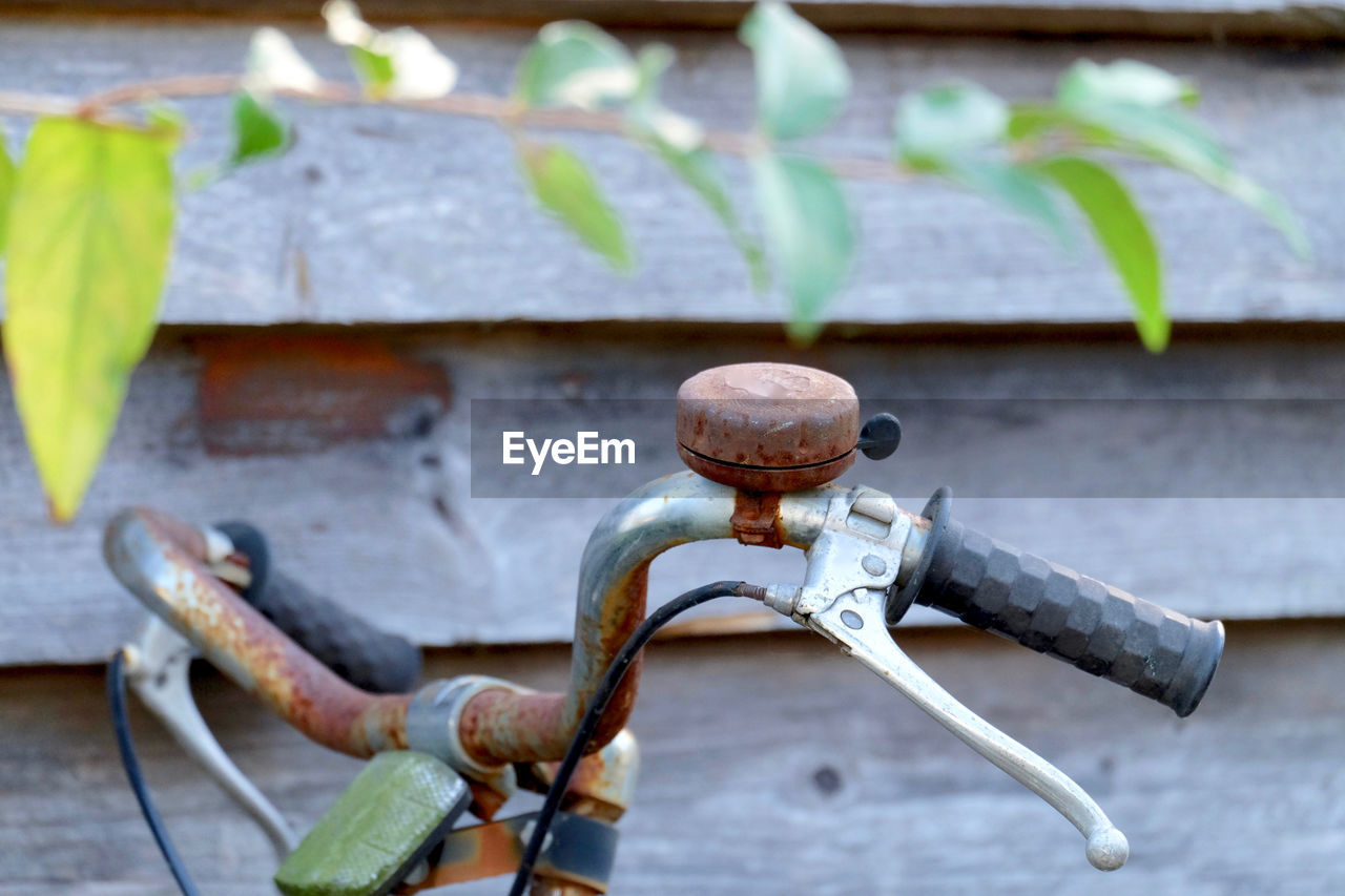 metal, rusty, day, no people, focus on foreground, close-up, outdoors, leaf, plant part, nature, wall - building feature, transportation, protection, security, safety, architecture, old, selective focus, plant, weathered