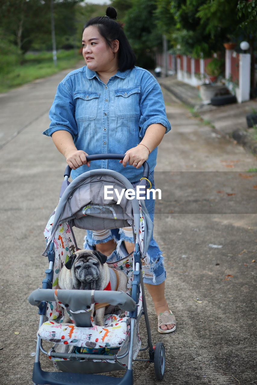 Woman with dog sitting in baby stroller on road