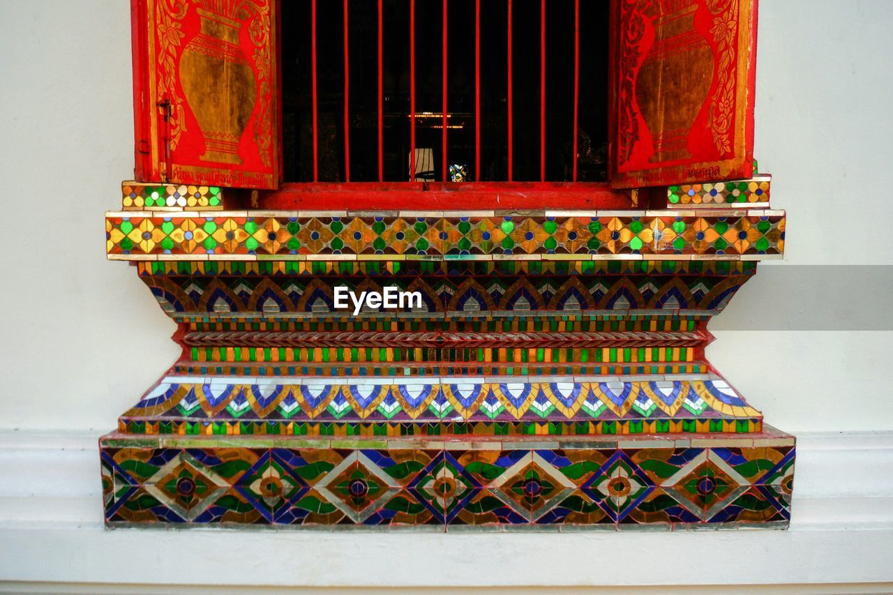 art and craft, design, pattern, architecture, multi colored, built structure, place of worship, ornate, spirituality, red, no people, religion, indoors, day, building exterior