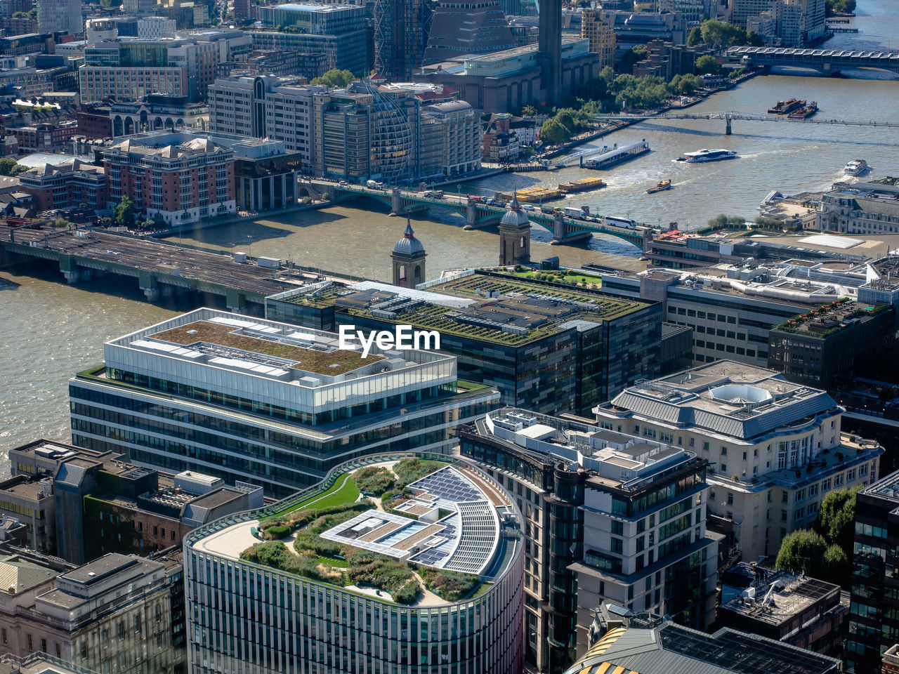 High Angle View Of Buildings And River Thames In London