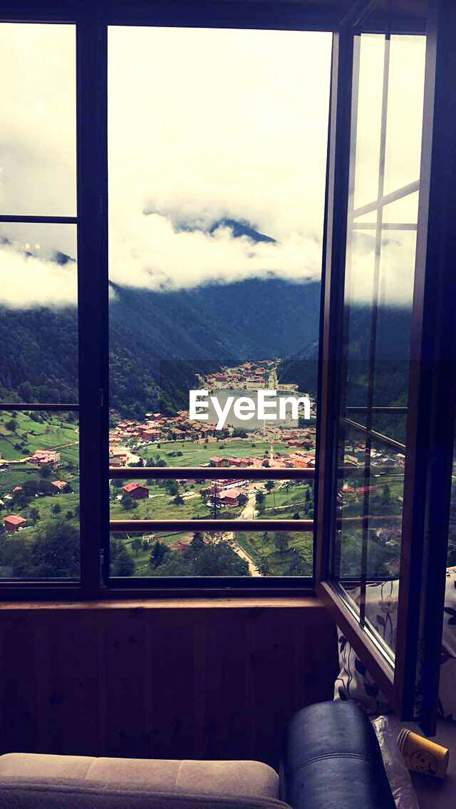window, no people, indoors, day, mountain, architecture, built structure, sky, landscape, cityscape, nature, building exterior