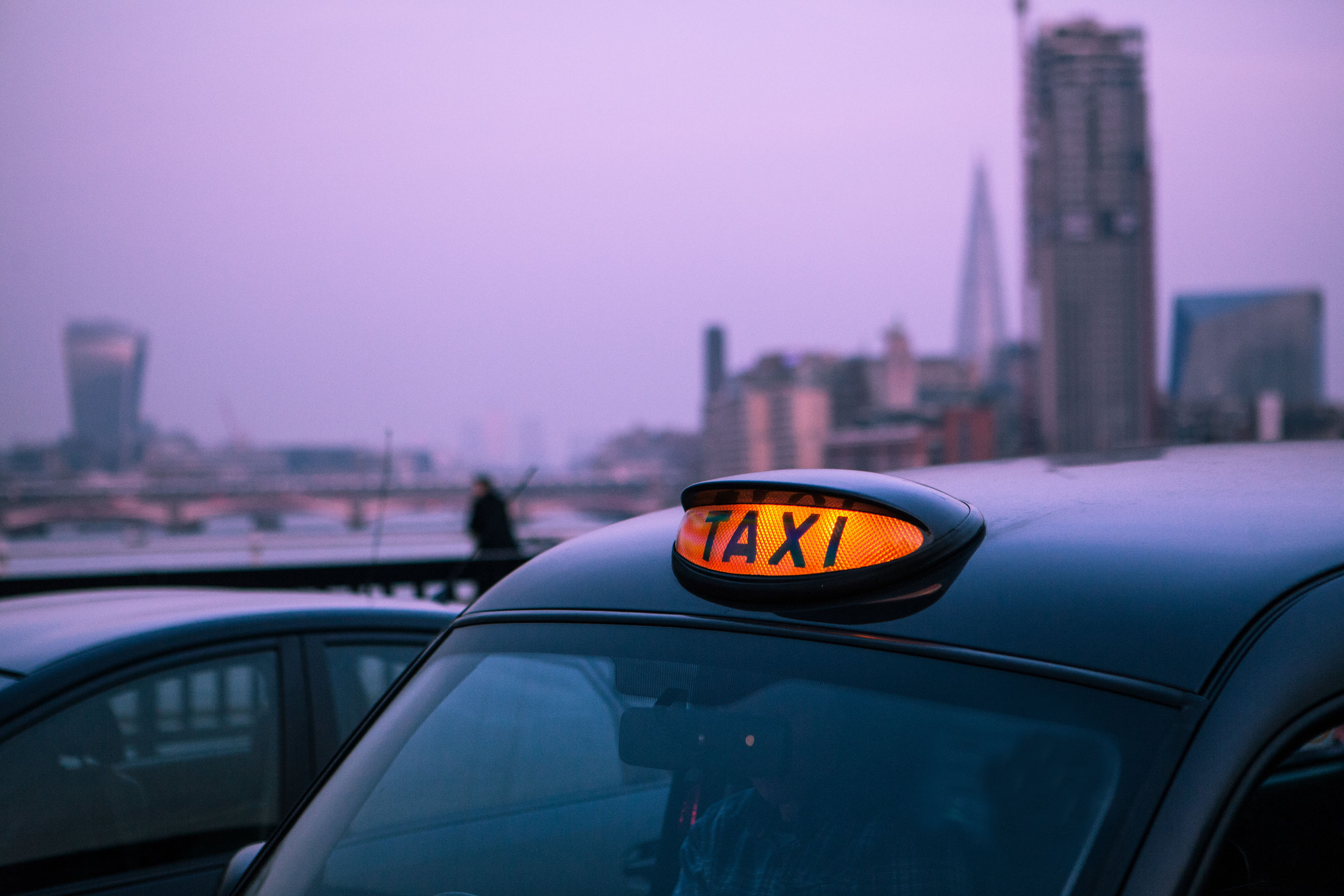 Close-up of taxi in london