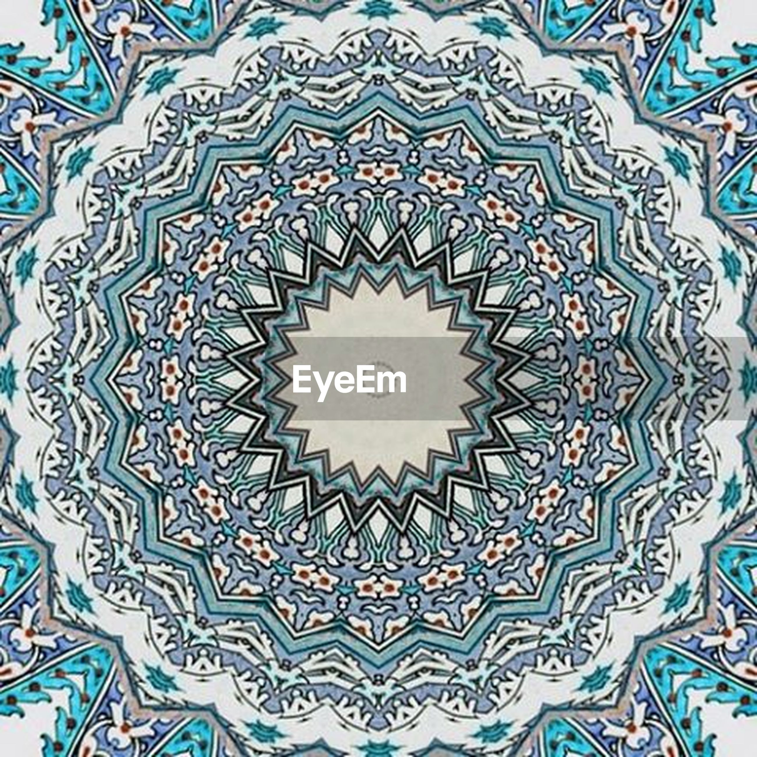 pattern, design, art and craft, blue, creativity, indoors, art, low angle view, architecture, built structure, floral pattern, multi colored, circle, full frame, ceiling, geometric shape, wall - building feature, ornate, no people, backgrounds