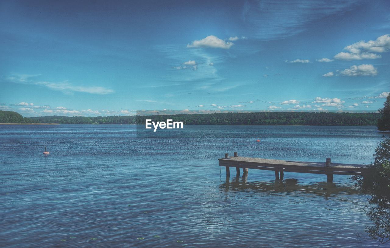 water, sky, tranquility, nature, blue, cloud - sky, scenics - nature, tranquil scene, beauty in nature, pier, sea, day, waterfront, no people, remote, outdoors, solitude, empty, single