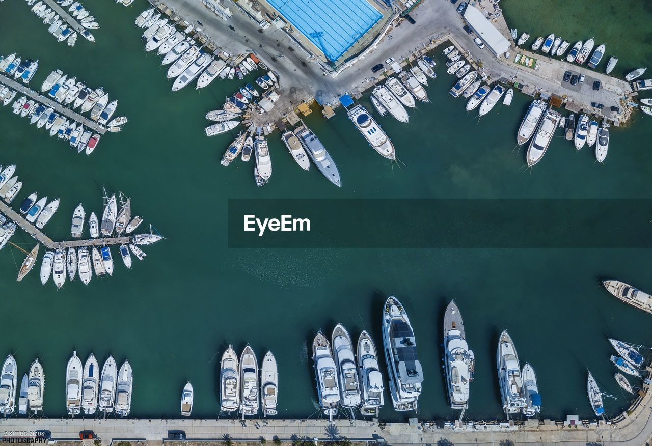 Directly Above Shot Of Yachts Moored At Harbor