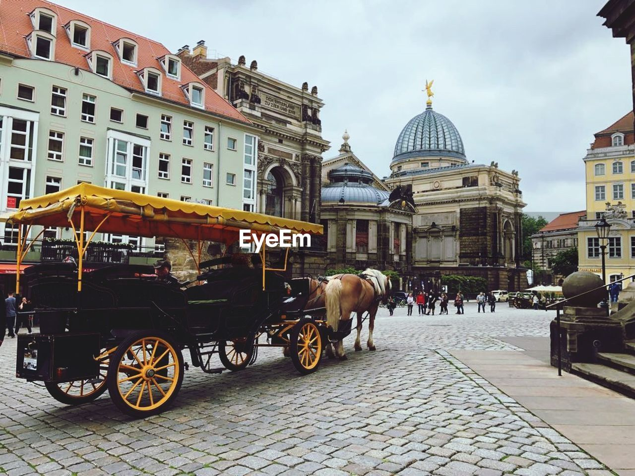 building exterior, architecture, built structure, city, building, street, cart, horse, horse cart, travel destinations, livestock, transportation, travel, place of worship, domestic animals, incidental people, animal themes, spirituality, dome, mammal, cobblestone, horsedrawn, outdoors