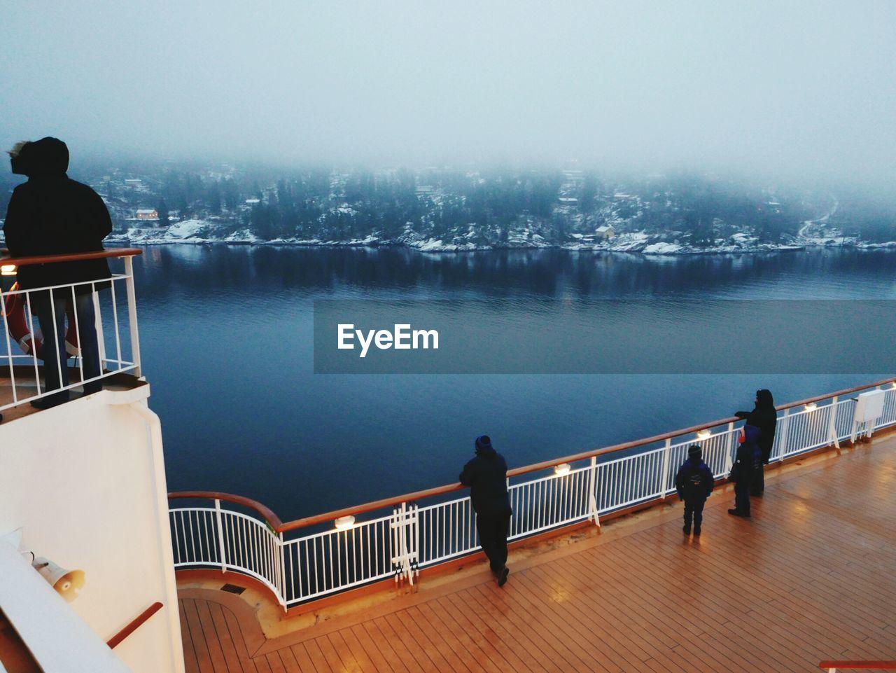 High angle view of people on ship