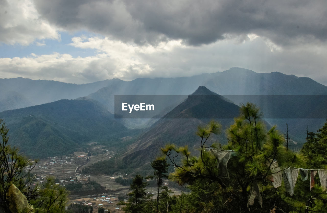 mountain, mountain range, nature, beauty in nature, tranquil scene, scenics, tranquility, cloud - sky, sky, landscape, day, no people, outdoors, tree, range