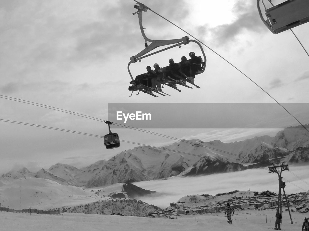 Overhead Cable Cars At Snow Covered Landscape