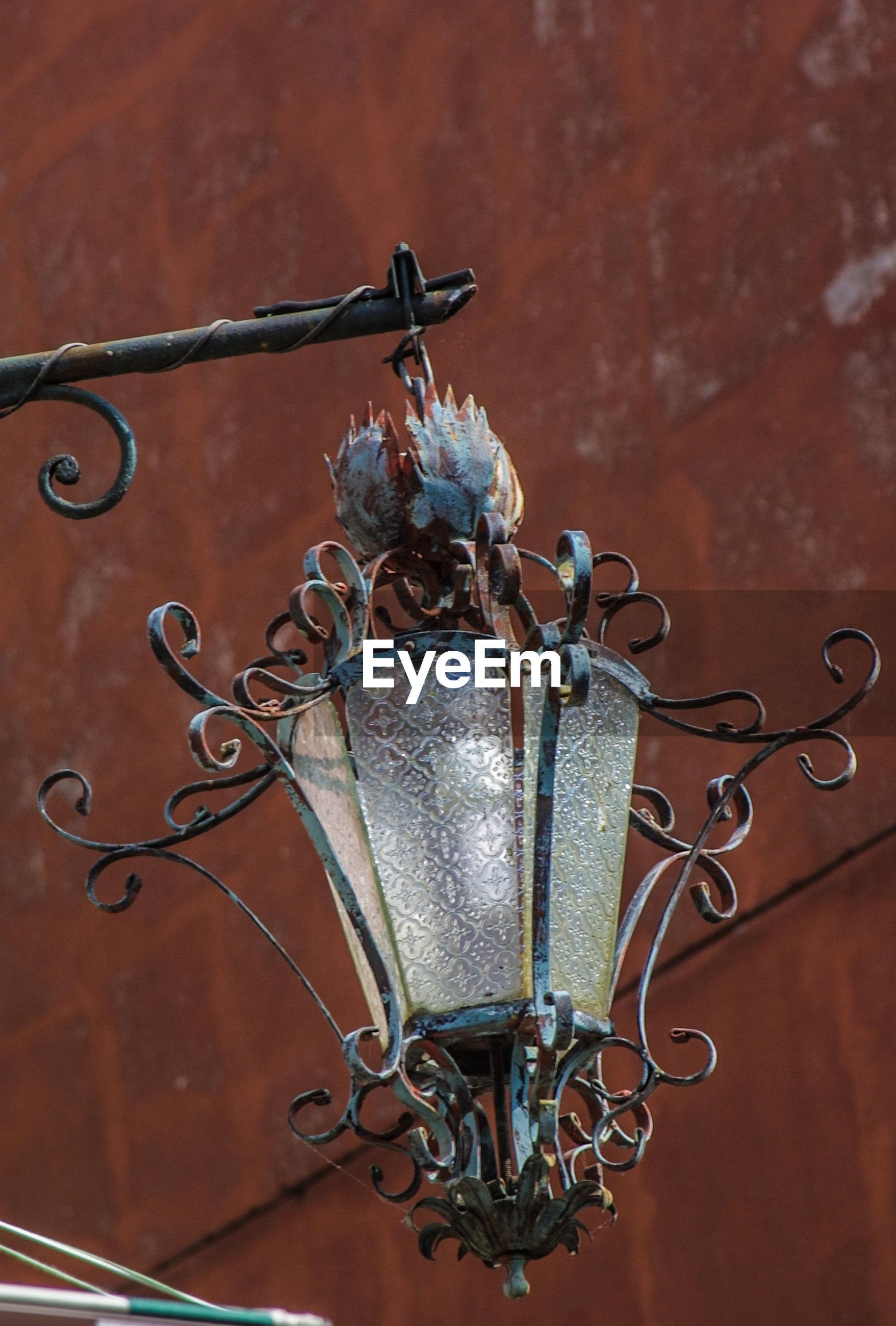 Close-up of metal lamp