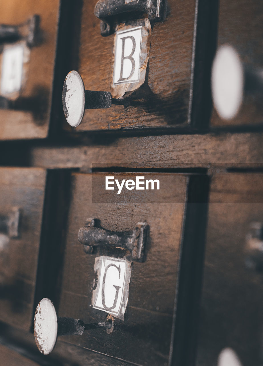 Full frame shot of wooden lockers with alphabets