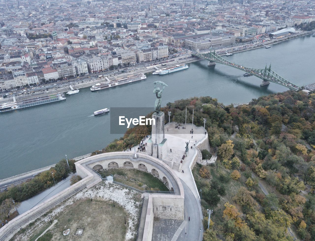 High angle view of danube river by cityscape