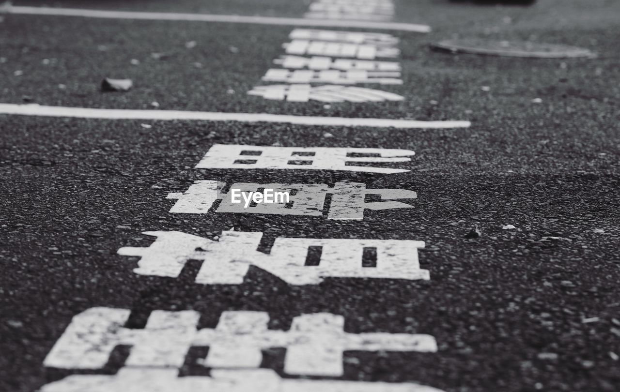View of text on road