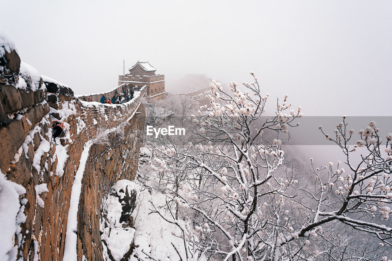 Great wall of china against clear sky during winter