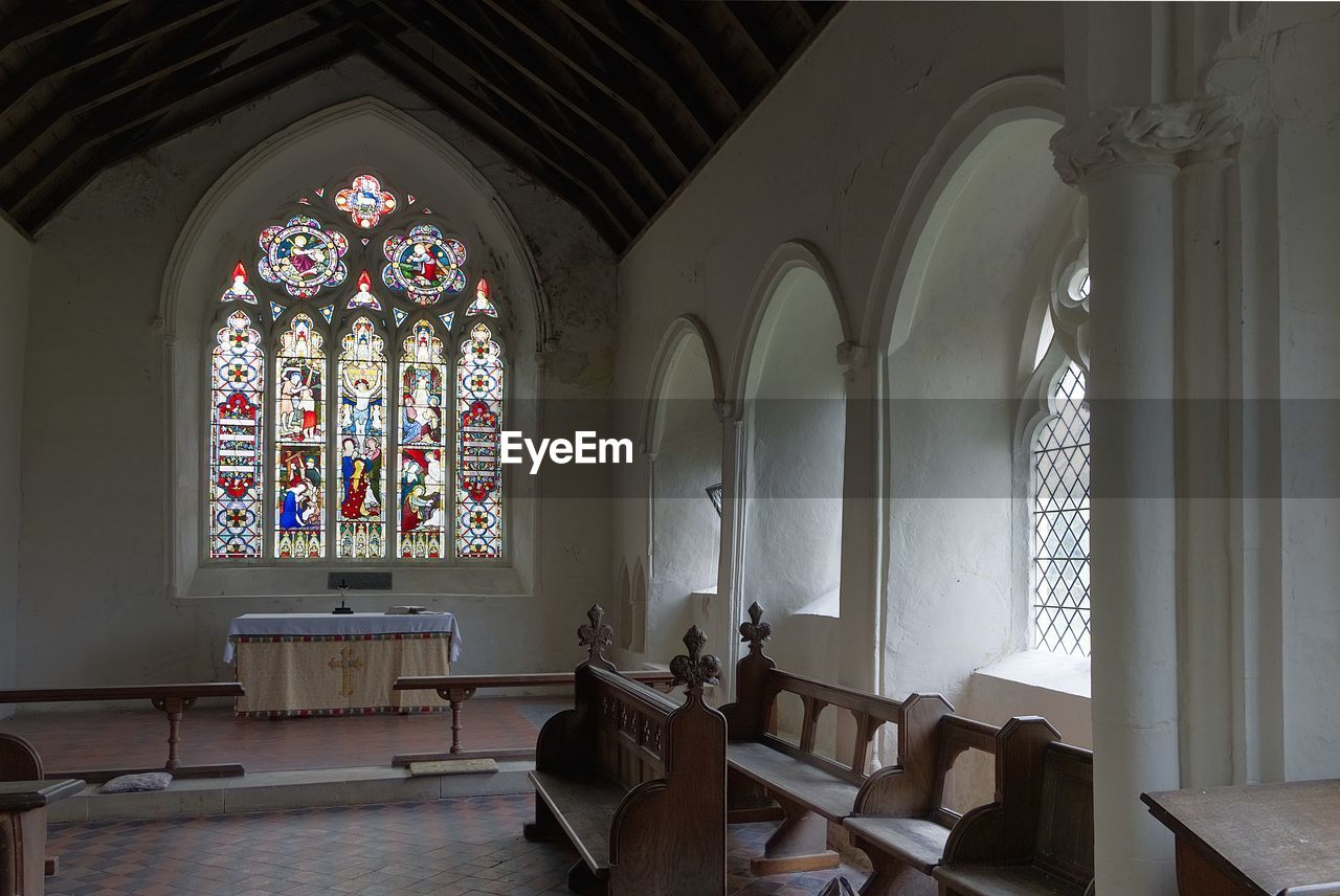 indoors, window, religion, spirituality, arch, place of worship, pew, no people, architecture, day