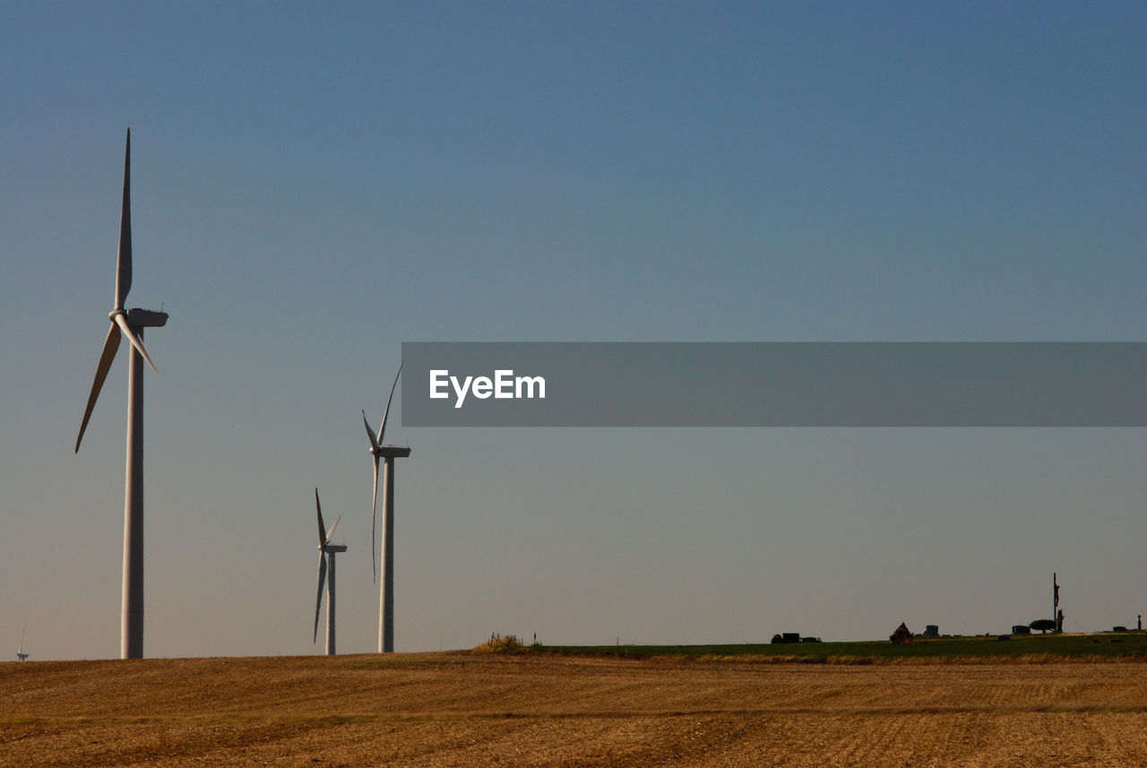 turbine, wind turbine, environment, sky, wind power, environmental conservation, fuel and power generation, renewable energy, field, alternative energy, landscape, land, clear sky, rural scene, technology, nature, copy space, beauty in nature, no people, agriculture, outdoors, sustainable resources