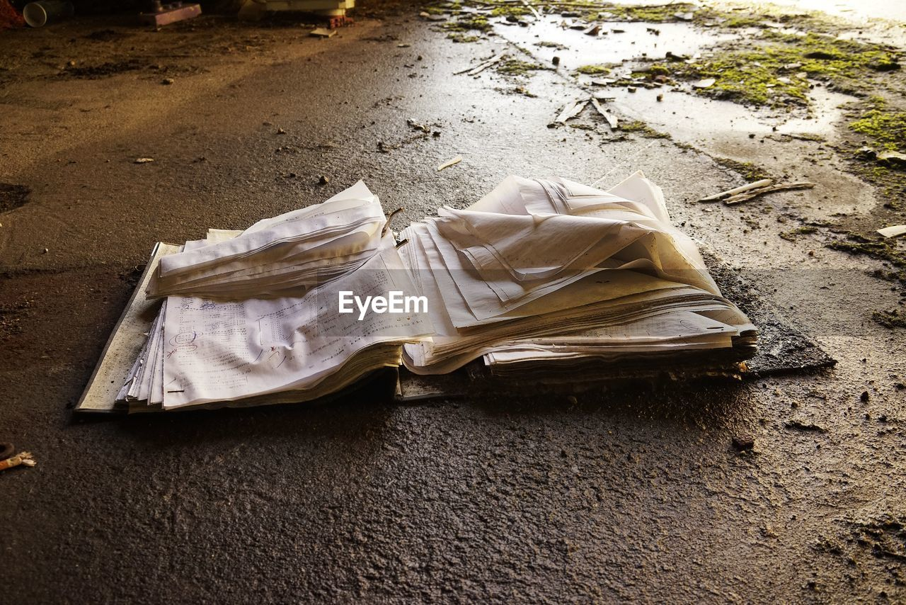 High Angle View Of Wet Open Book On Field