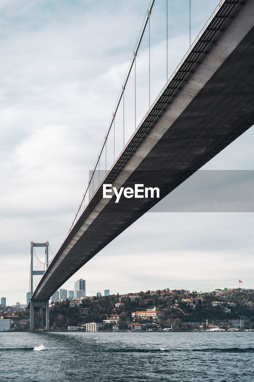 Low angle view of bridge over river in city