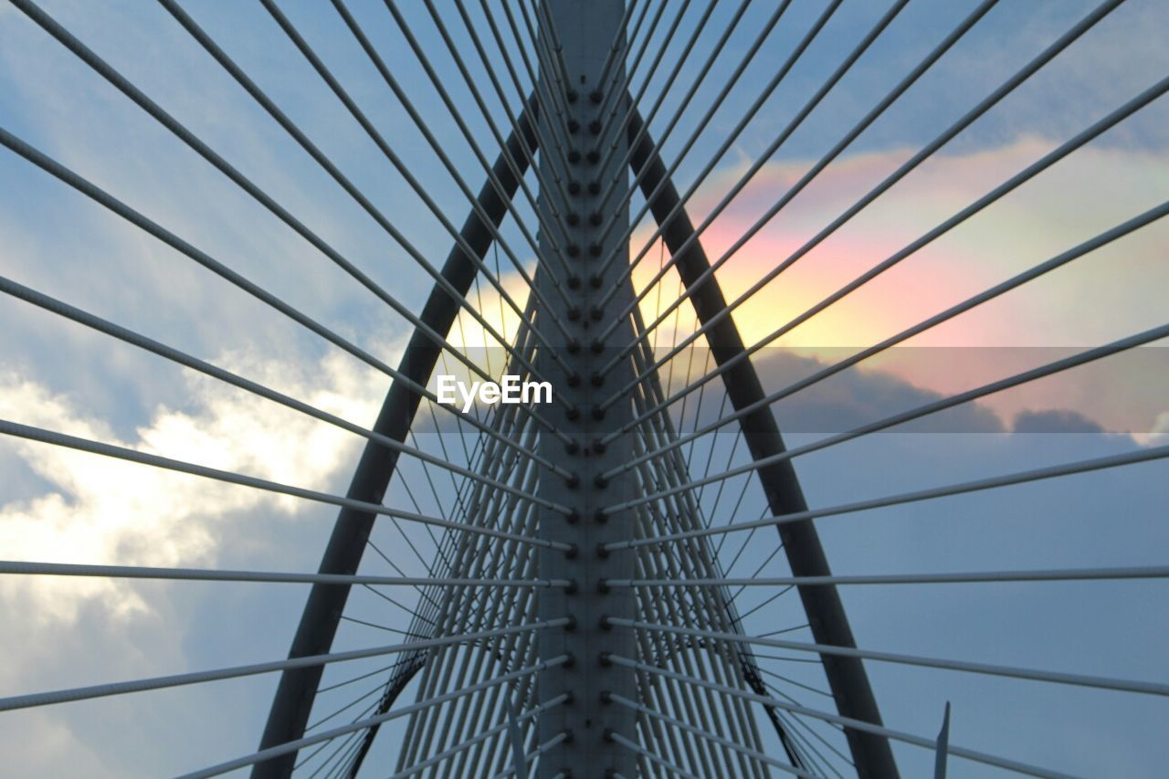 Close-up of steel cables of suspension bridge