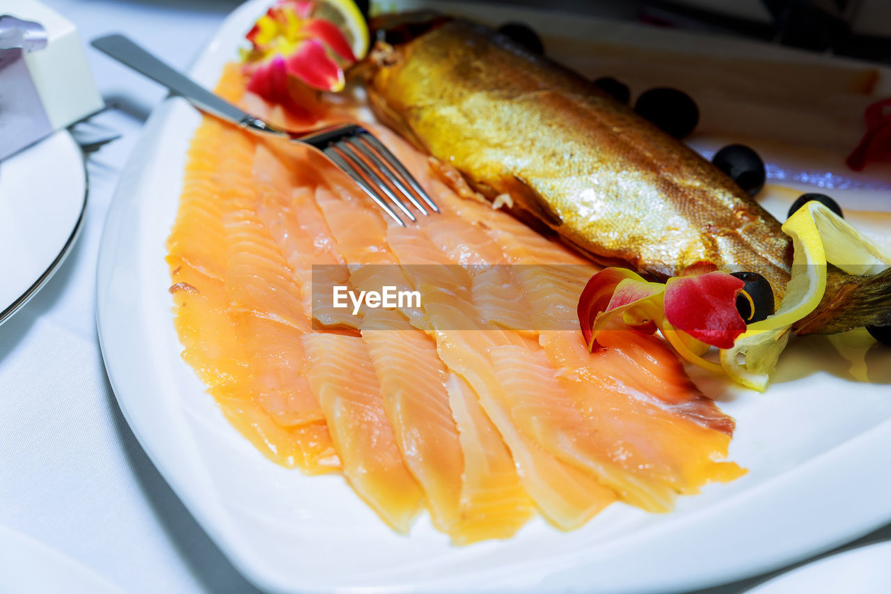 food and drink, food, plate, freshness, healthy eating, ready-to-eat, still life, serving size, slice, close-up, seafood, indoors, no people, fork, day