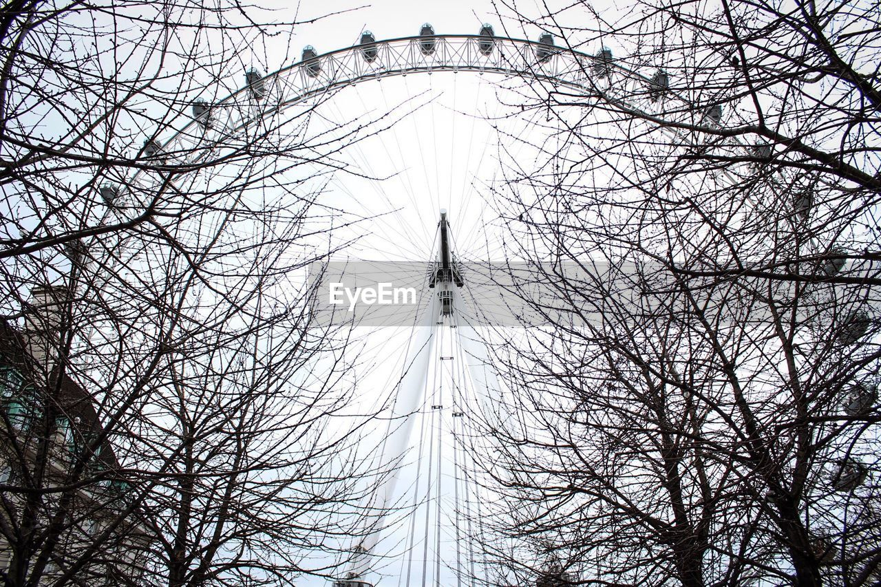 bare tree, low angle view, tree, amusement park, branch, arts culture and entertainment, sky, amusement park ride, no people, day, outdoors, ferris wheel, big wheel, clear sky