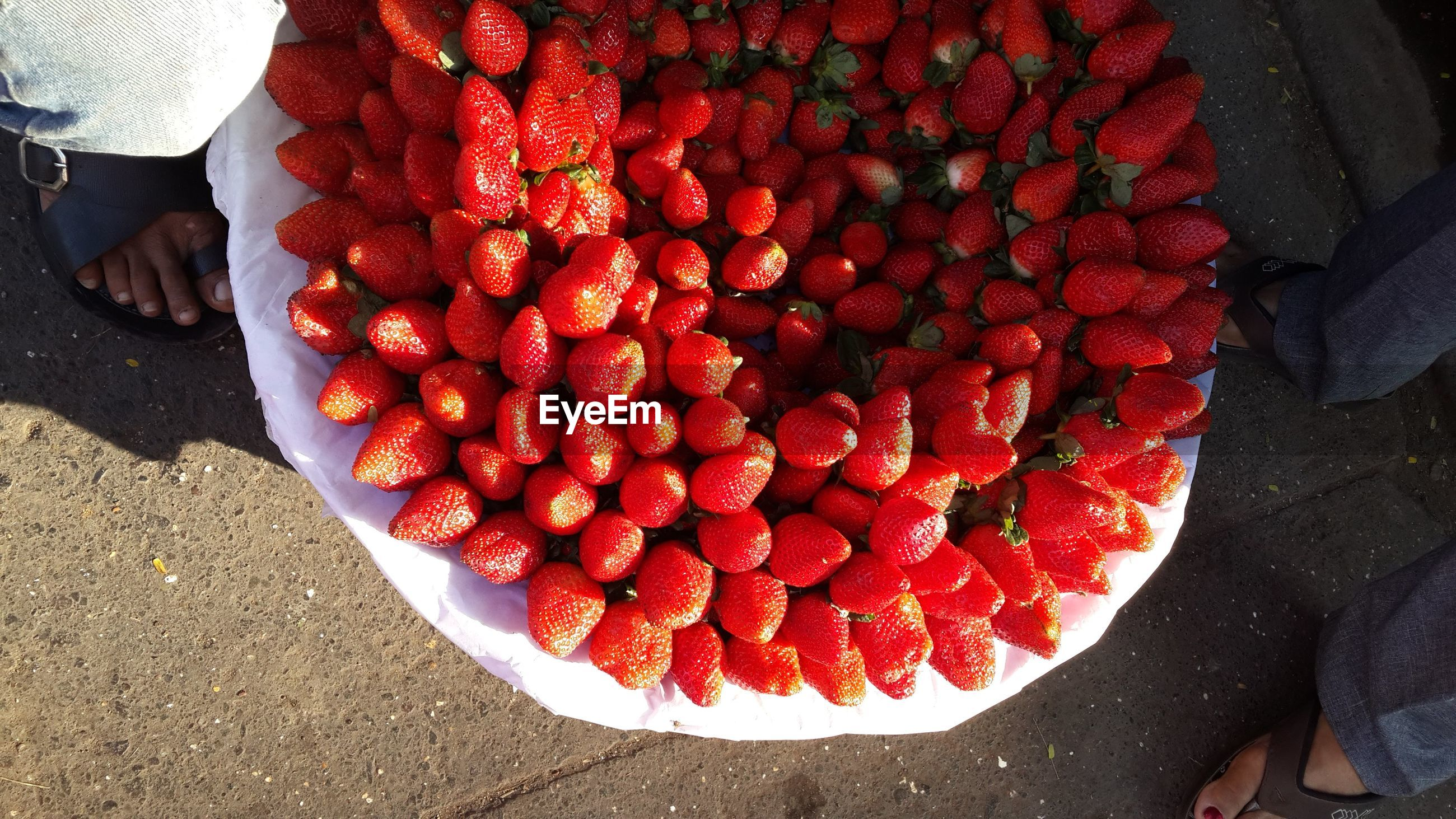 Close-up of red strawberries ina basket