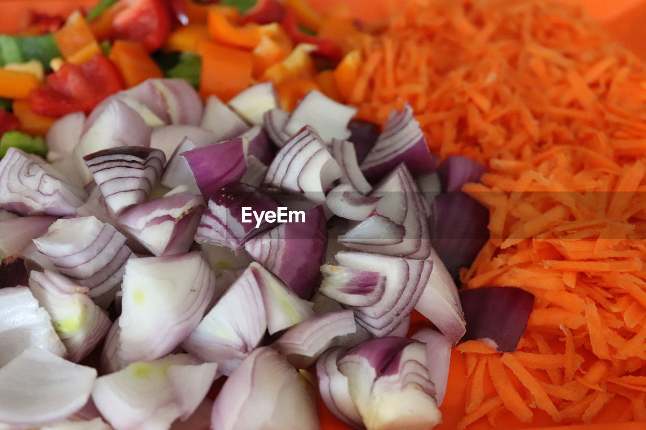 freshness, food and drink, food, still life, indoors, vegetable, no people, onion, close-up, healthy eating, chopped, large group of objects, wellbeing, root vegetable, carrot, full frame, abundance, orange color, variation, choice, vegetarian food