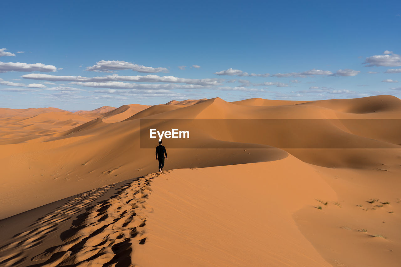 Rear view of man walking at desert against sky