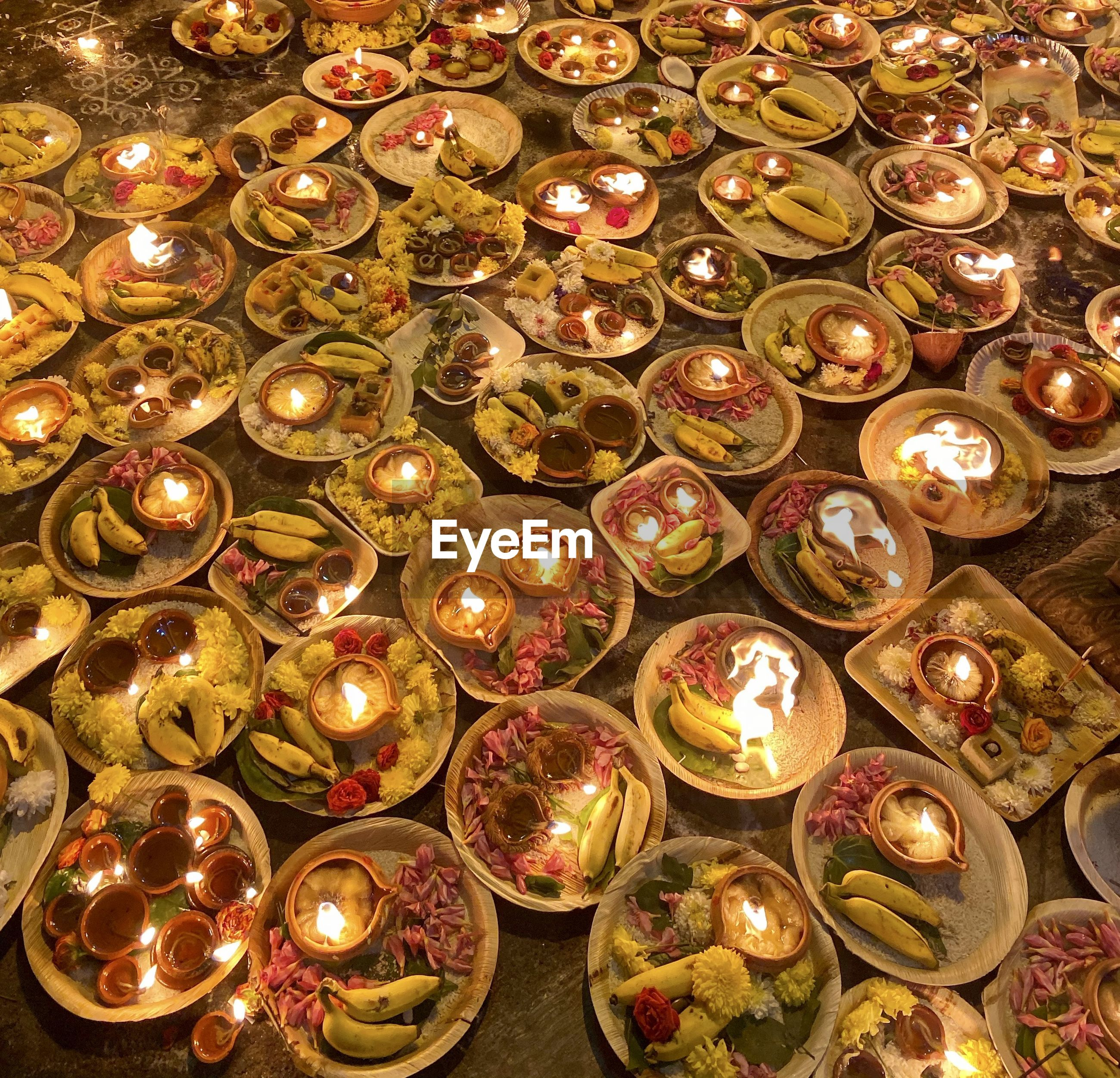 Full frame shot of religious offerings