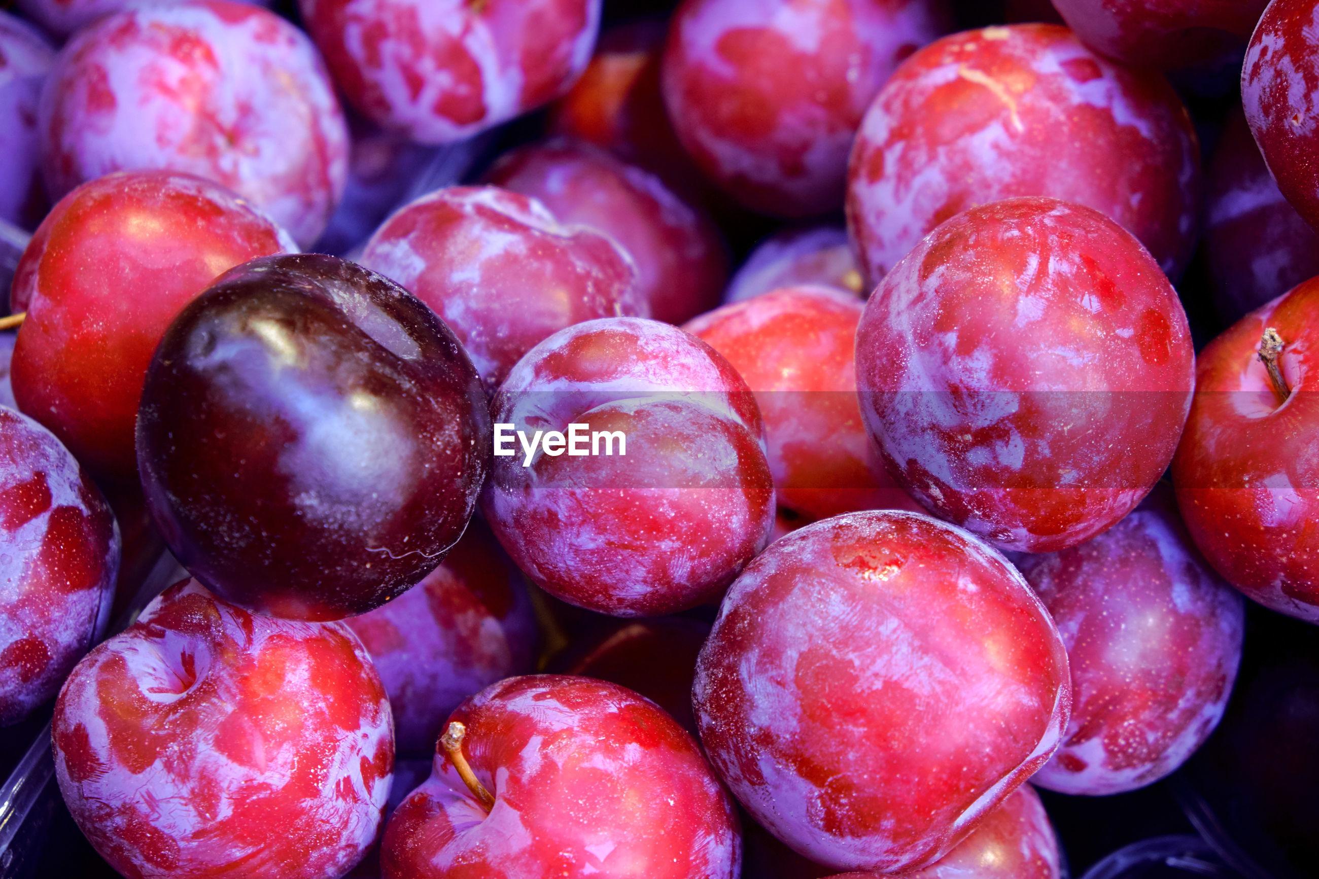 Full frame shot of plums