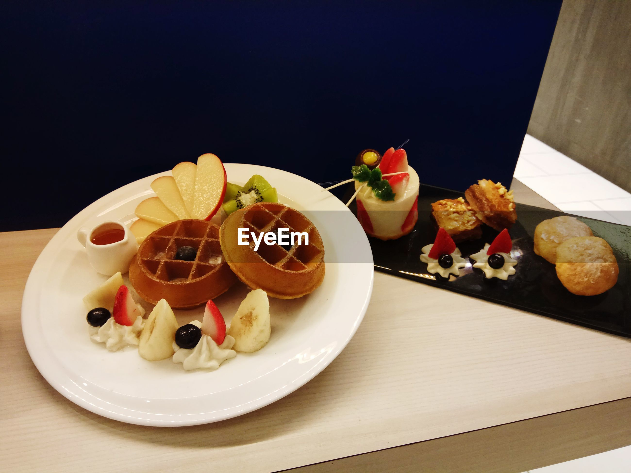 High angle view of sweet food served in plate on table