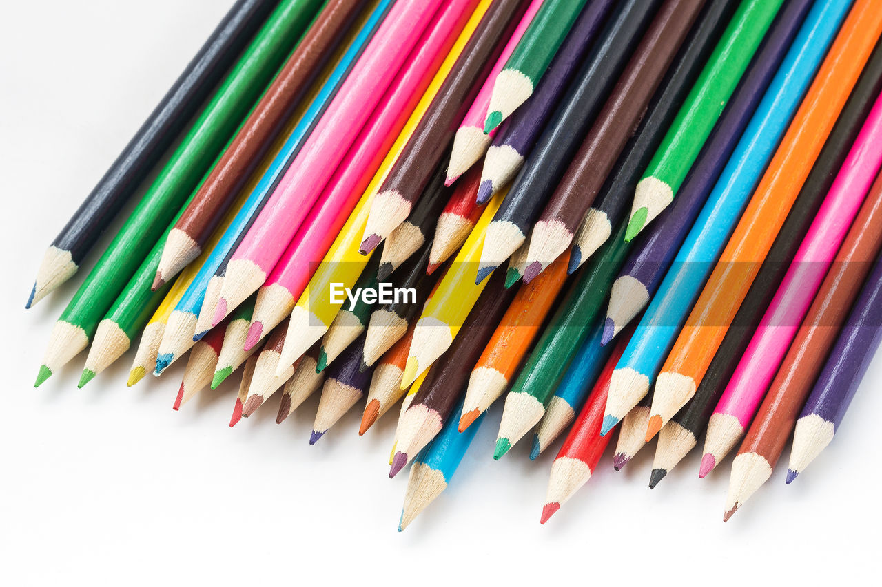 multi colored, large group of objects, white background, still life, variation, art and craft, indoors, close-up, colored pencil, no people, writing instrument, choice, pencil, studio shot, high angle view, side by side, arrangement, craft, collection, creativity, art and craft equipment, variety, order
