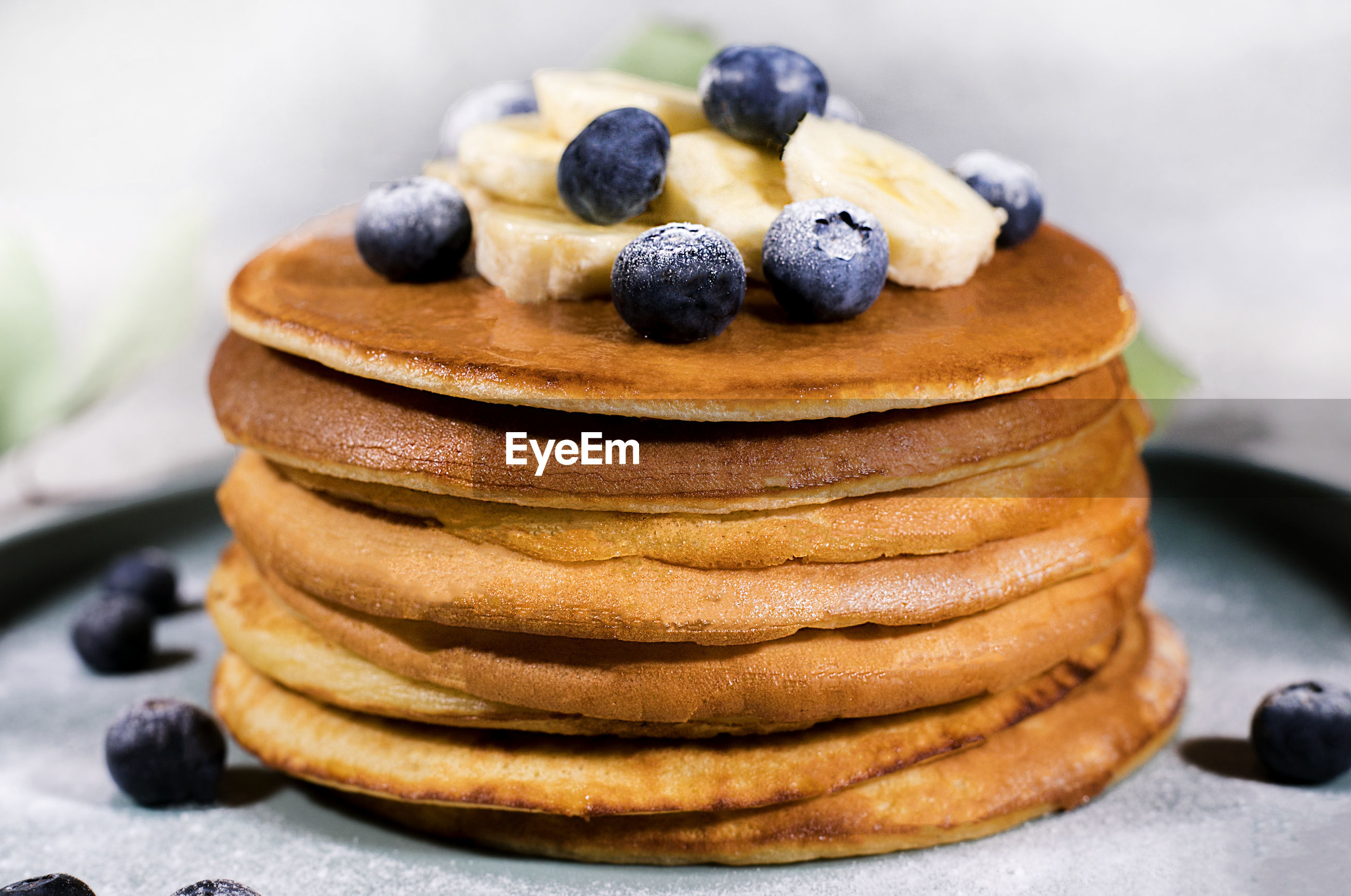 Close-up of pancakes in plate