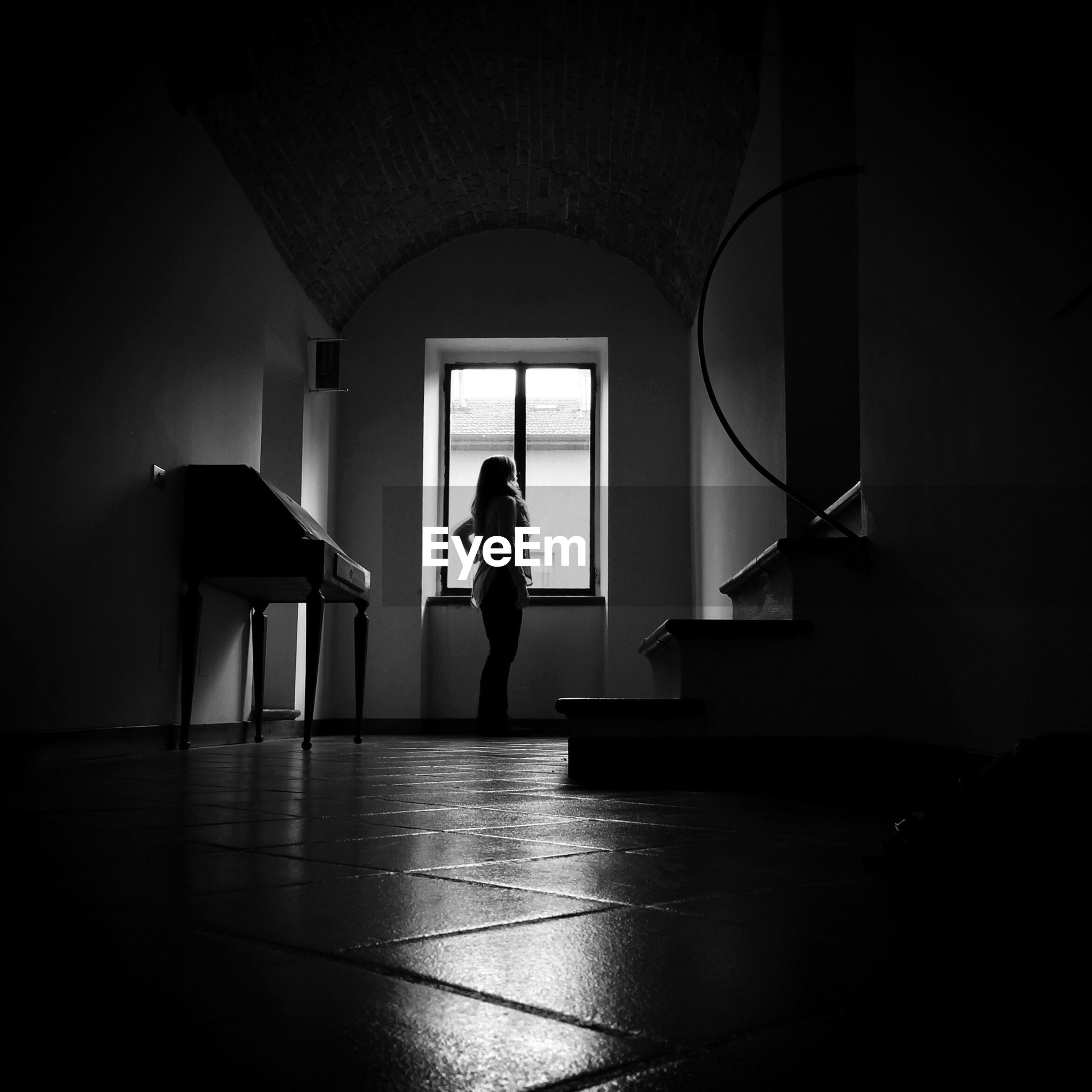 Black and white image of a room interior