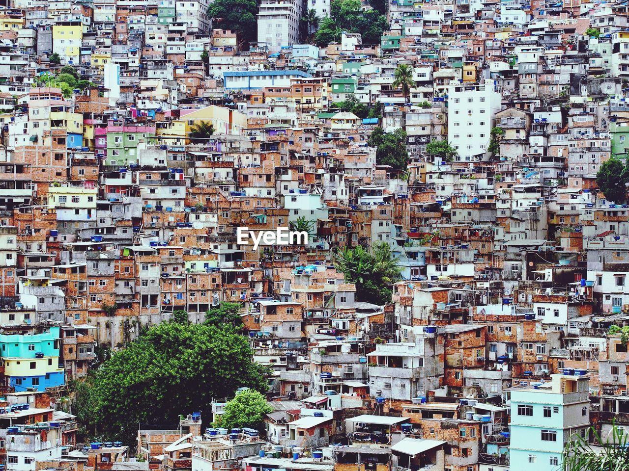 Full Frame Shot Of Favela Buildings At Rio De Janeiro