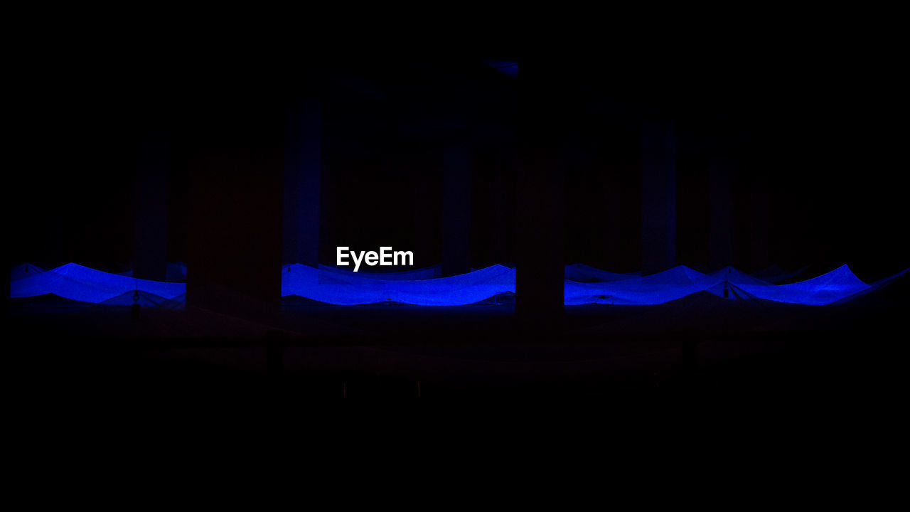 blue, no people, arts culture and entertainment, night, illuminated, indoors
