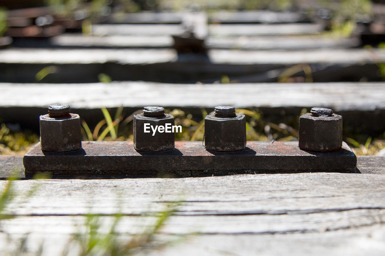 Surface Level Of Nuts And Bolts On Railroad Track