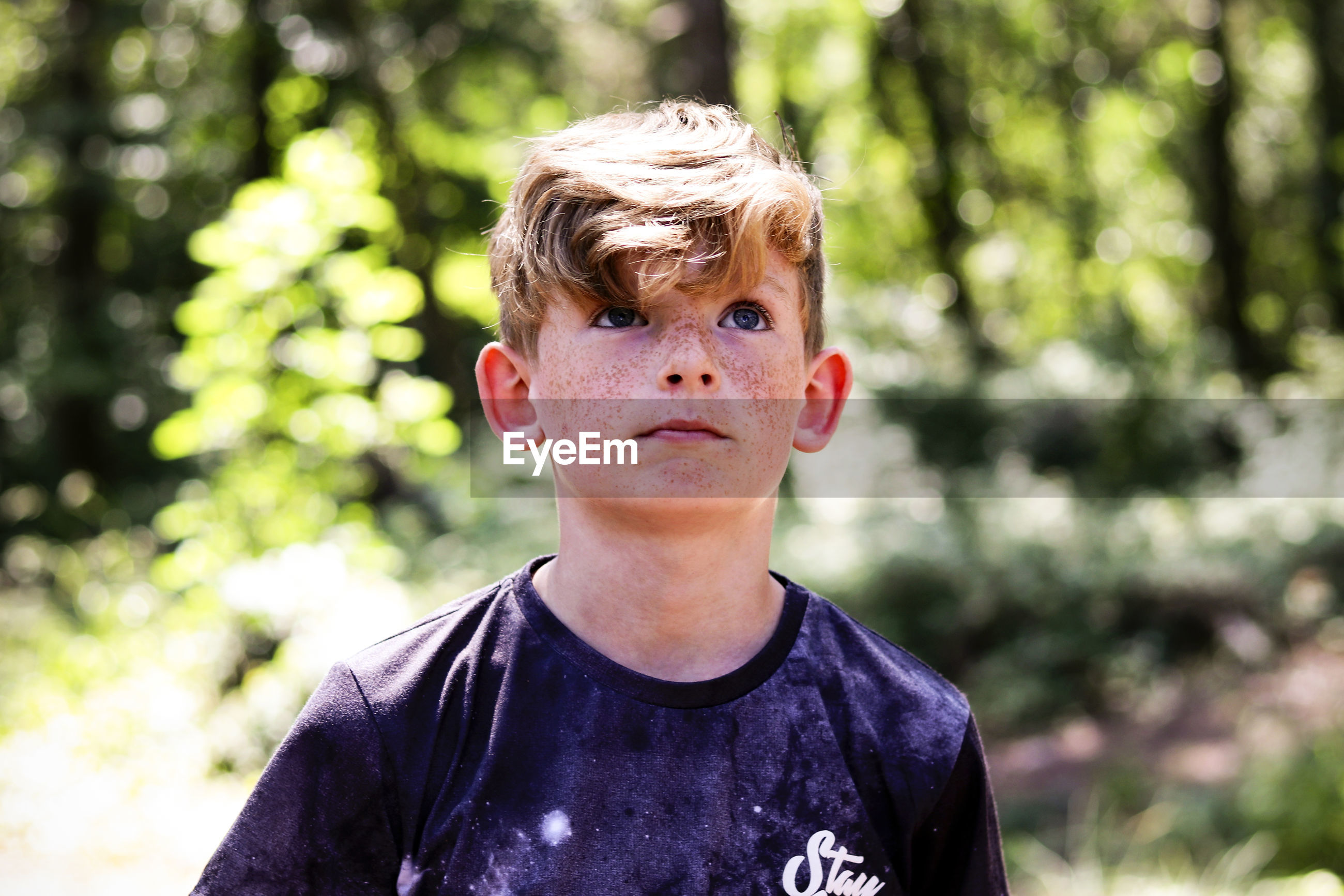 Boy looking away in forest
