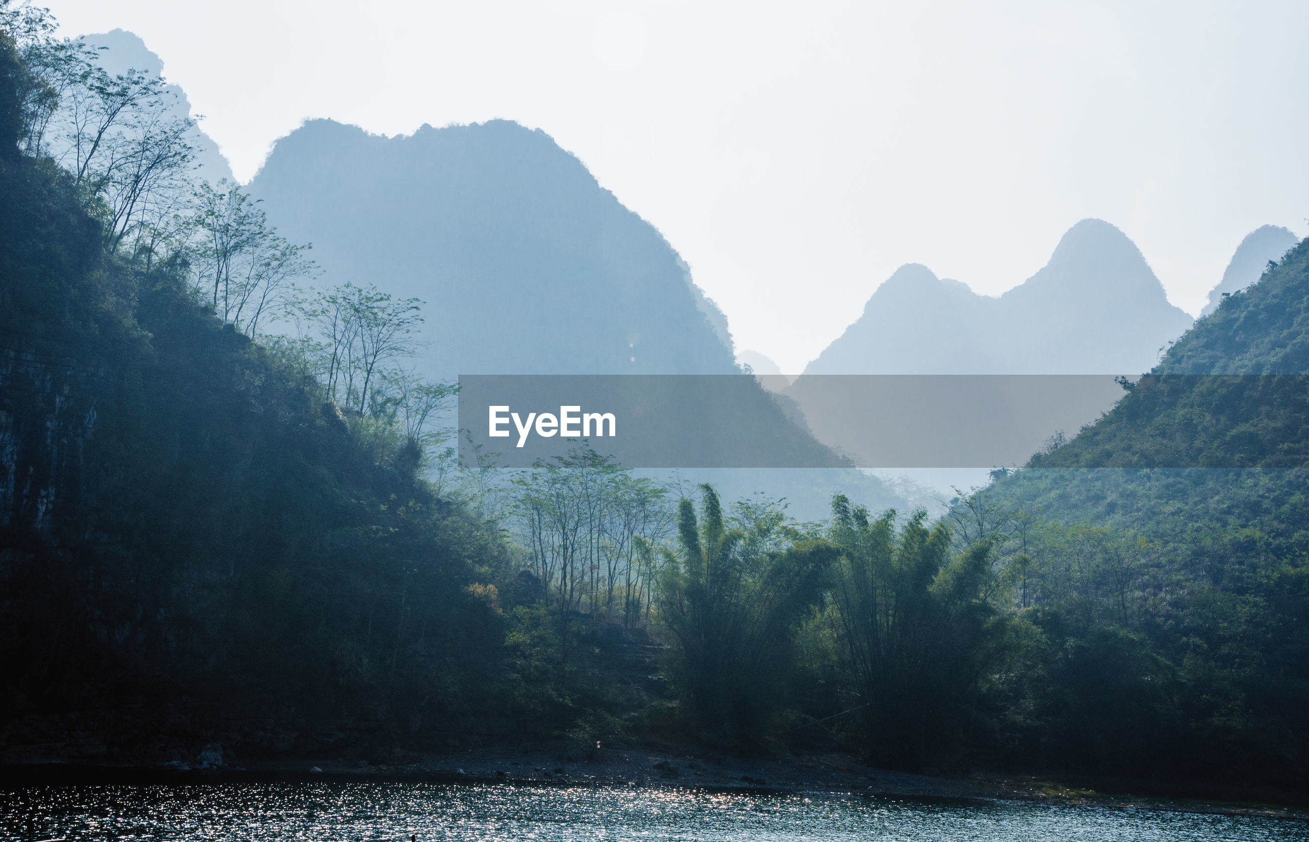 SCENIC VIEW OF LAKE IN MOUNTAINS