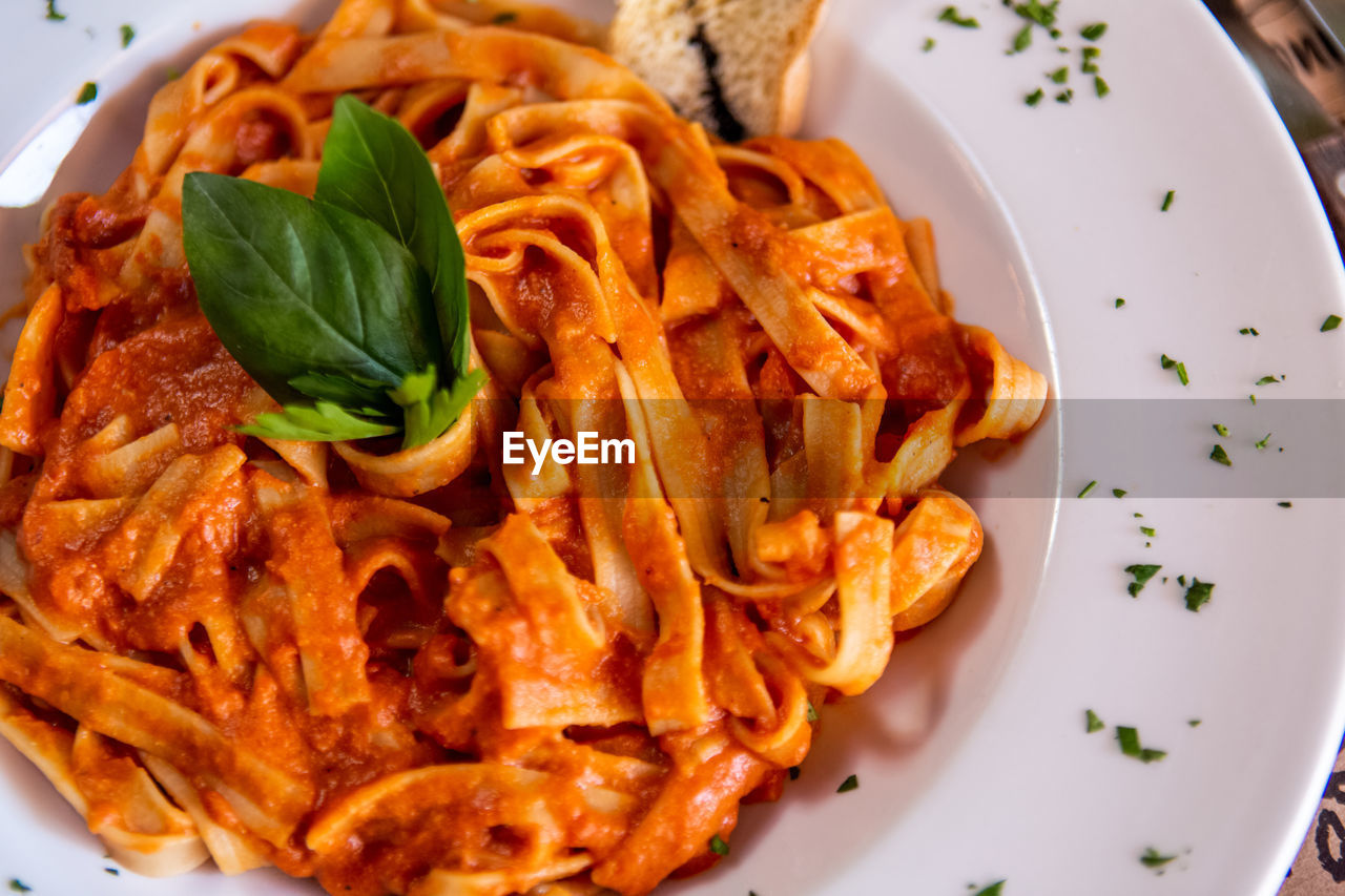plate, food and drink, food, ready-to-eat, freshness, serving size, close-up, indoors, italian food, basil, high angle view, pasta, still life, meal, garnish, leaf, healthy eating, no people, herb, plant part, crockery, spaghetti, temptation, snack, dinner