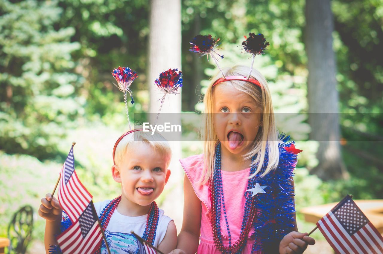 Portrait of children with american flags