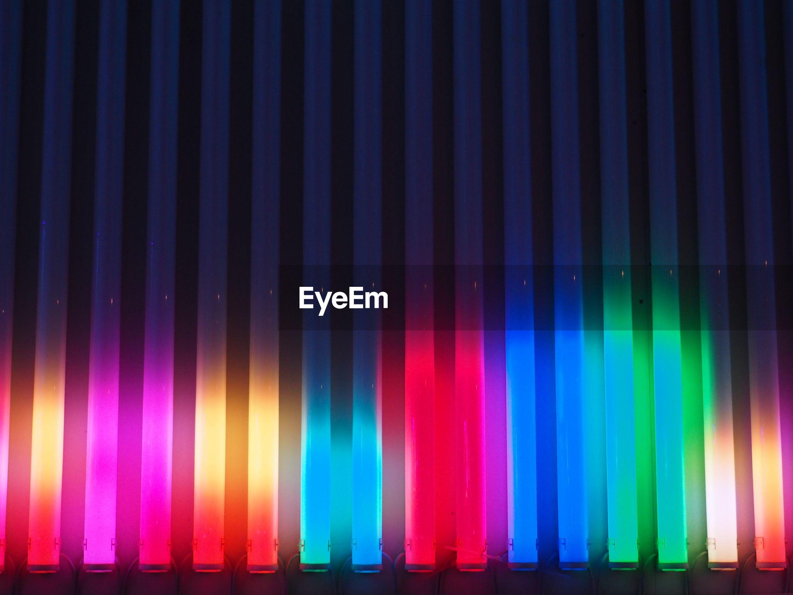 Full frame shot of multi colored stage lights