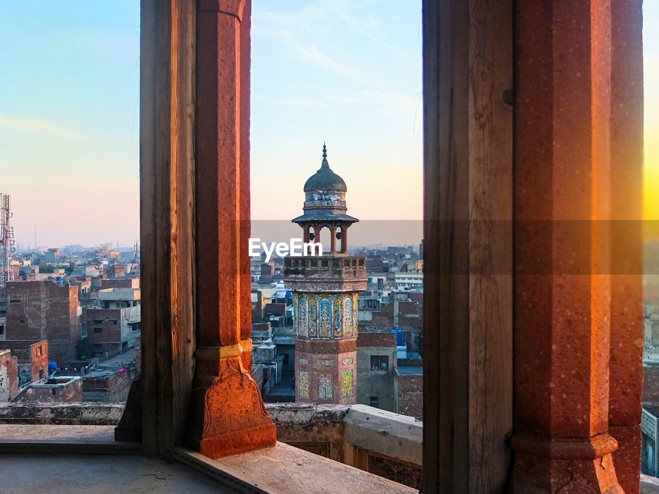 Townscape Against Sky Seen Through Wazir Khan Mosque